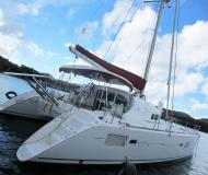 Cat Lagoon 410 for charter in Marigot Bay Marina